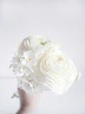 Wit die huwelijk of verjaardagsboeket van Perzische boterbloem, Ranunculus en gele narcis, Narcissen, bloemen wordt gemaakt vaag Royalty-vrije Stock Afbeeldingen