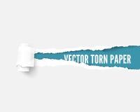 Wit die pakketdocument wordt gescheurd om blauw paneelideaal voor exemplaarruimte te openbaren vector illustratie