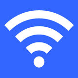 Wit die wifipictogram op blauwe achtergrond wordt geïsoleerd Stock Afbeeldingen