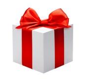 Wit doos rood boog en lint Stock Afbeeldingen