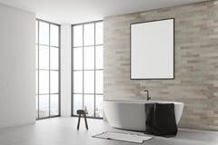Wit en baksteenbadkamers, affichekant Stock Foto's