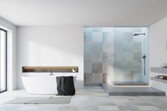 Wit en betegeld badkamersbinnenland Royalty-vrije Stock Afbeelding