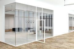 Wit en de hal van de het bureaumanager van de glasmuur Stock Foto