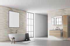 Wit en de hoekaffiche van de baksteenbadkamers Stock Foto's