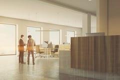 Wit en houten bureau, gestemde ontvangstkant Stock Fotografie