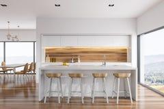 Wit en houten keukenbinnenland, bar Royalty-vrije Stock Foto's