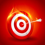 Wit en rood brandend doel Royalty-vrije Stock Foto's