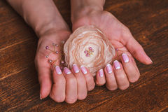 Wit en roze spijkerart. Stock Afbeeldingen