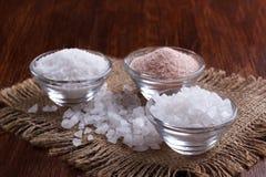 Wit en roze zout stock afbeelding
