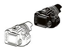 Wit en zwart de camera uitstekend pictogram van de vooraanzichtillustratie stock illustratie