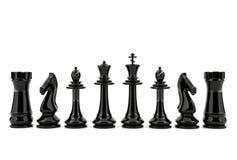 Wit en zwart die schaak op witte achtergrond wordt geïsoleerd Royalty-vrije Stock Afbeelding