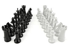 Wit en zwart die schaak op witte achtergrond wordt geïsoleerd Stock Fotografie