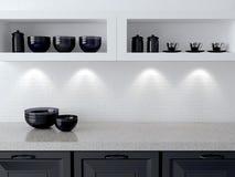 Wit en zwart keukenontwerp stock afbeeldingen