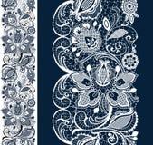 Wit en zwart naadloos kant Royalty-vrije Stock Foto's