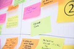 Wit Flip Chart Board met Tijd en Middelen Gekleurde Post-it stock foto