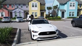 Wit Ford Mustang GT Convertible stock video