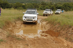 Wit Ford Ranger XLS met Zilveren Luifel stock fotografie