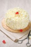 Wit Forest Cake - Witte Chocolade Cherry Cake Stock Foto