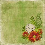 Wit frame met bloemen en klok Stock Foto