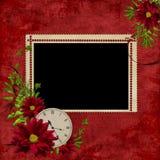 Wit frame met bloemen en klok Stock Fotografie