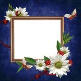 Wit frame met bloemen en linten Royalty-vrije Stock Foto