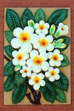 Wit Frangipani bloemstandbeeld Stock Foto