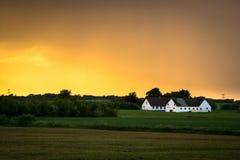 Wit gehuisvest op ploegland Stock Fotografie