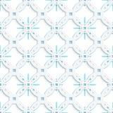 Wit geperforeerd ornament met blauwe naadloze sneeuwvlokken Royalty-vrije Stock Foto's