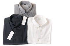 Wit, grijs en zwart overhemd met leeg prijskaartje Stock Foto's