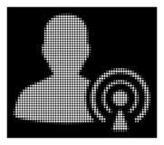 Wit Halftone Podcast-Schepperpictogram royalty-vrije illustratie