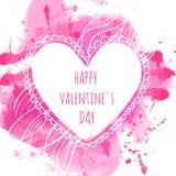 Wit hand getrokken hartkader De roze achtergrond van de waterverfplons Artistiek ontwerpconcept voor huwelijksuitnodigingen, groe stock illustratie
