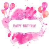 Wit hand getrokken kader met kleurrijke waterverfballons De roze achtergrond van de verfplons Het artistieke ontwerpconcept voor  royalty-vrije illustratie