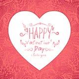 Wit hart op een roze achtergrond met patroon Royalty-vrije Stock Fotografie