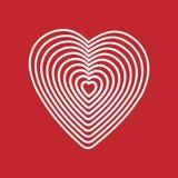 Wit hart op rode achtergrond Optische illusie van 3D driedimensioneel volume Vector illustrator Goed voor ontwerp, embleem of dec Royalty-vrije Stock Afbeelding