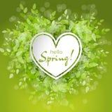 Wit hartkader met de tekst hello lente Royalty-vrije Stock Afbeeldingen