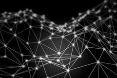 Wit het gloeien 3D laag polywireframenetwerk - netwerk of cyber inte Royalty-vrije Stock Fotografie