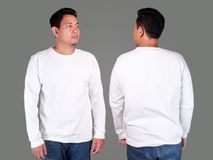 Wit het modelmalplaatje van het sweater lang sleeved overhemd Stock Afbeeldingen