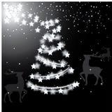 Wit het nadenken Kerstmisboom en rendier royalty-vrije stock afbeelding