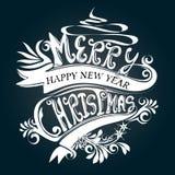 Wit het ontwerpsymbool van typografie Vrolijk Kerstmis Stock Afbeeldingen