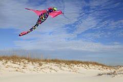 Wit het Zandstrand van Dragon Kite Flying Over Beautiful Stock Foto