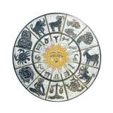 Wit horoscoopwiel Stock Afbeeldingen