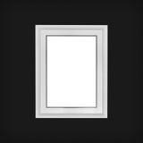 Wit houten kader op zwarte achtergrond Stock Afbeeldingen