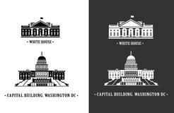 Wit huis en van het Capitool de bouw in Washington Royalty-vrije Stock Foto's