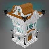 Wit huis met zwarte griffioenen Royalty-vrije Stock Foto