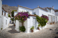 Wit huis op Hydra-Eiland, Griekenland Stock Afbeeldingen