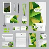 Wit identiteitsmalplaatje met origamielementen Vectorbedrijf st Stock Afbeelding