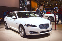 Wit Jaguar glanst de Internationale Salon van Moskou Stock Fotografie