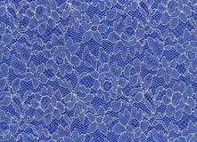 Stof (wit kant op blauwe stof) Royalty-vrije Stock Afbeelding