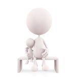Wit karakter die haar baby situeren Stock Afbeelding
