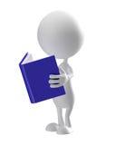 Wit karakter met boek Royalty-vrije Stock Afbeelding
